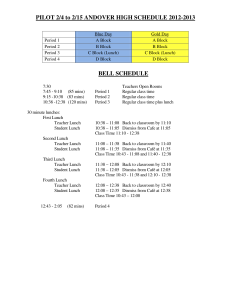 The new bell schedule for second semester.
