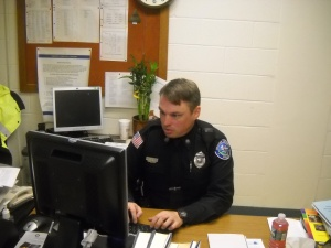 Officer Dowd at work. Photo by Rosanna Wang.