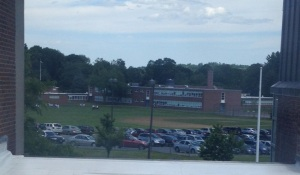 The Senior Lot, shown during school hours, is close to its capacity of cars. West Middle, the trails, and Red Spring are expected to be full again come the beginning of next school year.  (Photo by Nick Valeri)