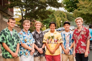 Students throughout the school donned Hawaiian shirts, a Carey trademark, to bid the beloved teacher farewell Friday. (Courtesy Photo)