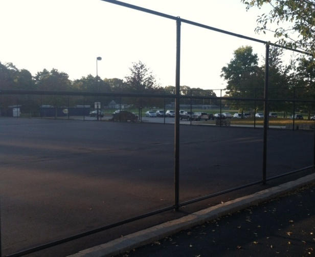 Construction continues on  the school's new tennis courts. (Photo by Steven Kimball)