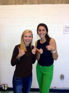 Natalie Hill and Sara Adam offer a thumbs-up for everyone who dresses appropriately for school...like them. (Photo by Alexa Rockwell)