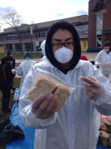 Did you lose your lunch? The waste audit uncovered a whole sandwich wrapped in a plastic bag. (Photo by John Barry)