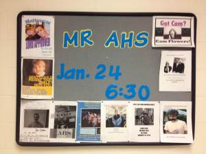 Contestants in the Mr. AHS competition hung up posters to advertise themselves. (Photo by Alexa Rockwell)