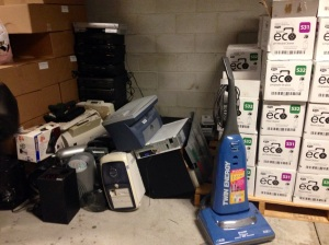 Donations from the first day of the electronics drive. (Photo by Tarushi Sharma)