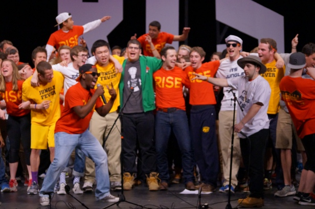 The members of the AYS Telethon all dance as the event comes to a grand end.