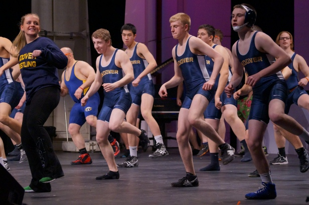 The AHS wrestling team dances and shows off their spirit.