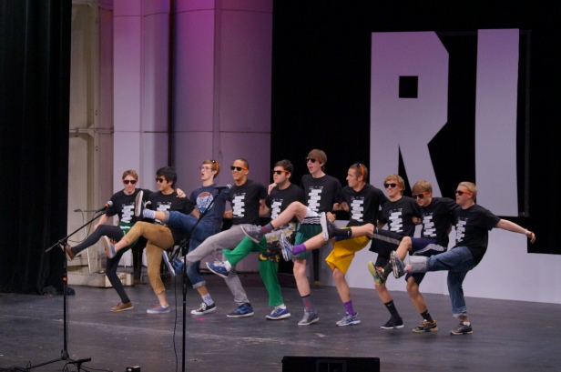 The boys from Mr. AHS gather together and do the can-can.