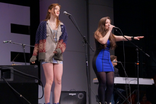 """Casey McQuillen, right, performed """"Dark Horse"""" and her own song """"Beautiful."""""""