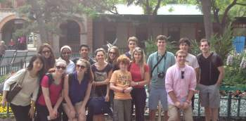 Students and chaperons pose at the Beijing Zoo.