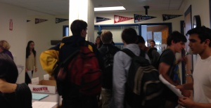 Students rush to the guidance department at 2:05 on Friday, April 4, to submit their final schedules for next year. (Photo by Jenna Kosinski)