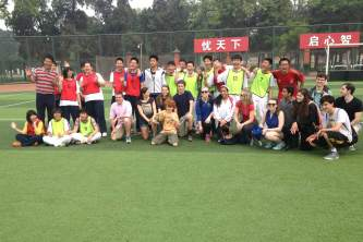 AHS students play soccer with Chinese students of Yincai High School.