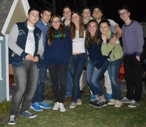 Exchange students from France enjoy a goodbye campfire before bidding Andover adieu. (Courtesy Photo)