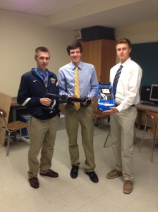 AHS students (L-R) Ben Hunt, Alec Dean, and Kyle Surehan were among the 10 to take the top prize at the National STEM League competition. (Photo by Elizabeth Bernardin)