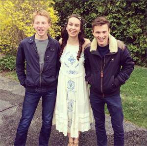 Senior Rachel Harris with two French exchange students, Thibaud and Nicholas. (Courtesy Photo)