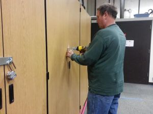 Locks were added to storage cabinets in the band room following a series of thefts. (Photo by Rachel McIntosh)