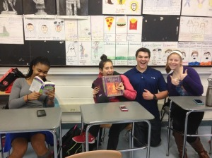 From left, Rachel Cadet, Julianne Tiechart, Bryce Corbitt, and Megan Hartnett all seem pretty happy to be studying Latin, but theirs is a dying breed. (Photo by Laura O'Brien)