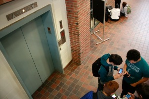 Often the wait for the elevator can be a long one at AHS, especially when it is used by those who do not need it. (Staff Photo)