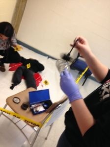 Student groups prepared crime scenes at select locations throughout the school. (Courtesy Photo)